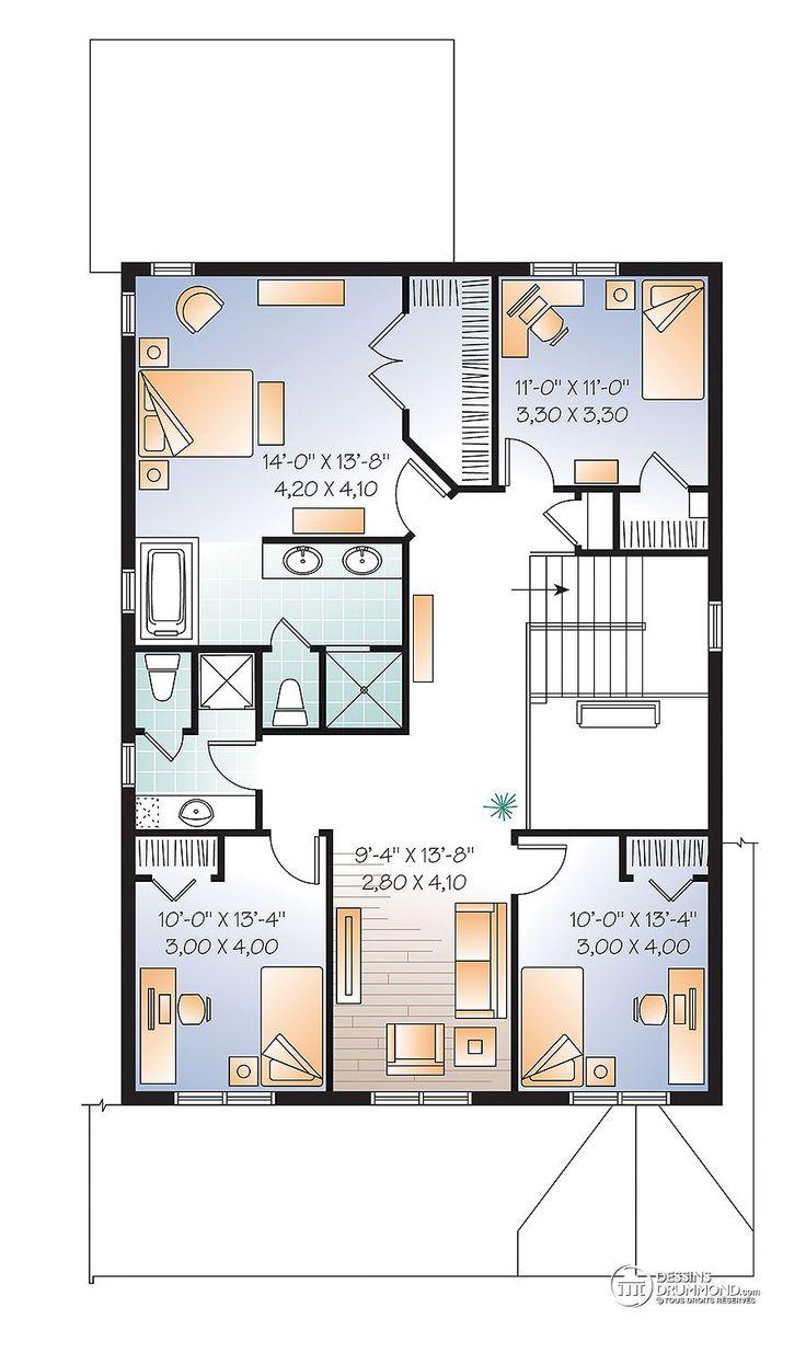 Détail du plan de maison unifamiliale w3889 v1