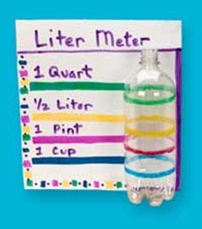 Maak je eigen meetinstrument. Hoeveel is 'een kopje' of 'een beker'? En hoeveel is een halve of een hele liter?