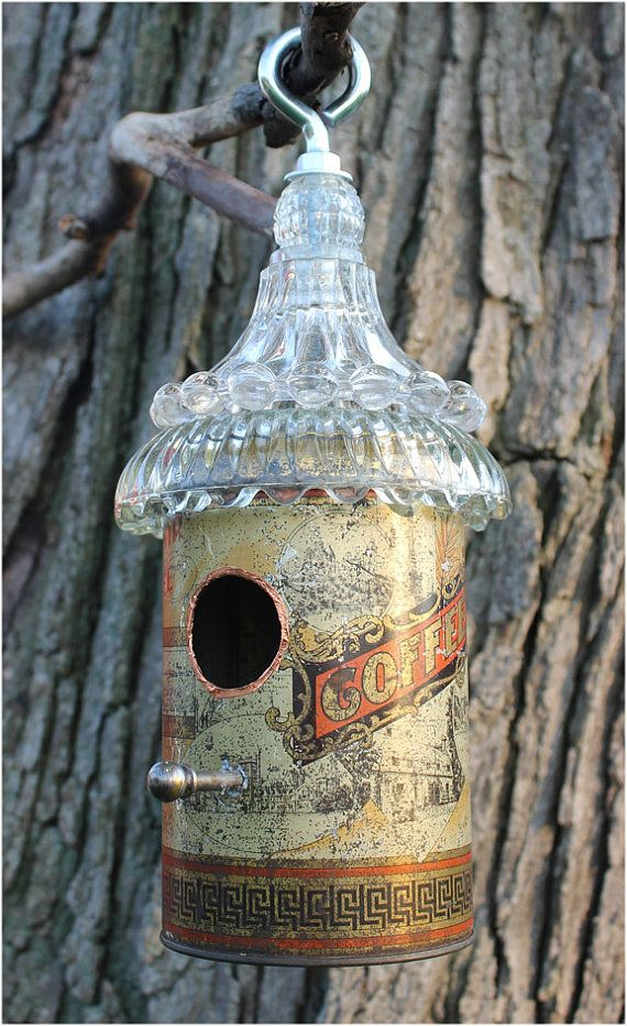 Vintage Coffee Tin Bird House by JunkWhisperers on Etsy