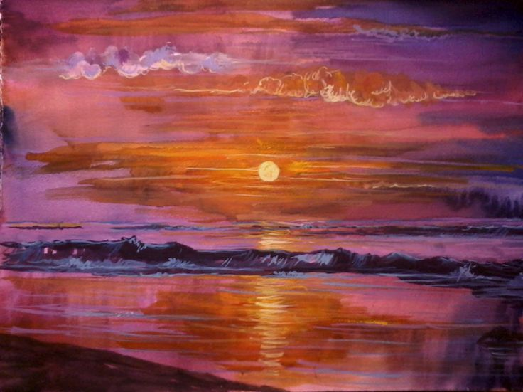 beach sunset watercolor - Google Search