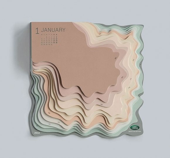 Topographic Calendar by Zeynep Orbay for Land Rover