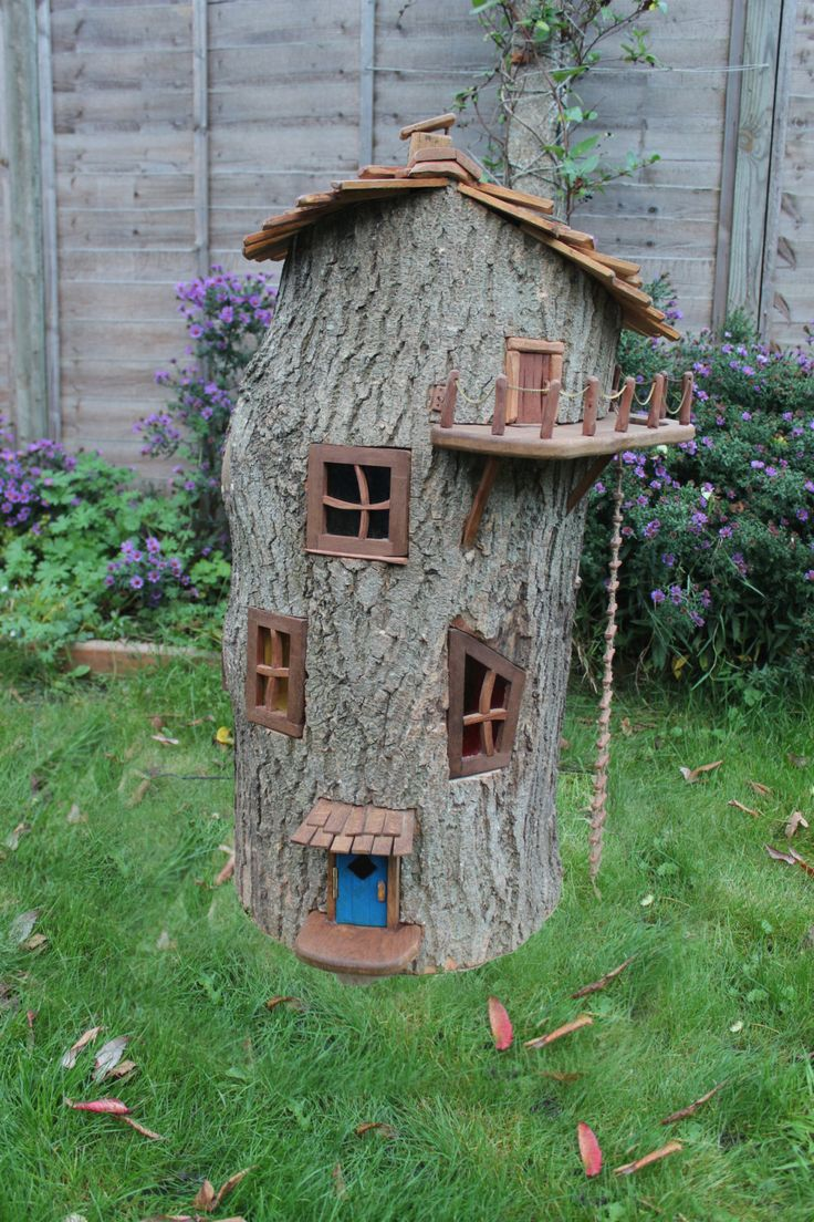 Tree stump fairy house - Enchanted Wooden Fairy House By Olliewoodswood On Etsy