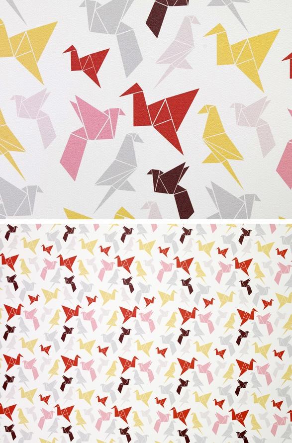 Adorable Origami Wallpaper by Dottir & Sonur (via design*sponge http://www.designsponge.com/2011/12/dottir-sonur.html)