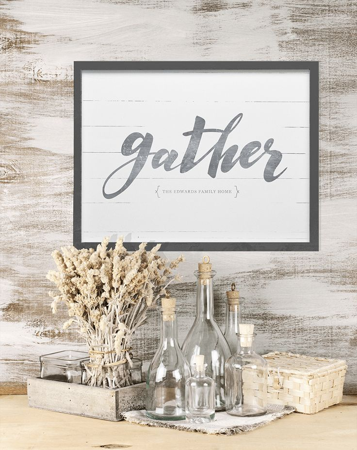 """Gather"" personalized print. Add your family name to this rustic farmhouse style…"