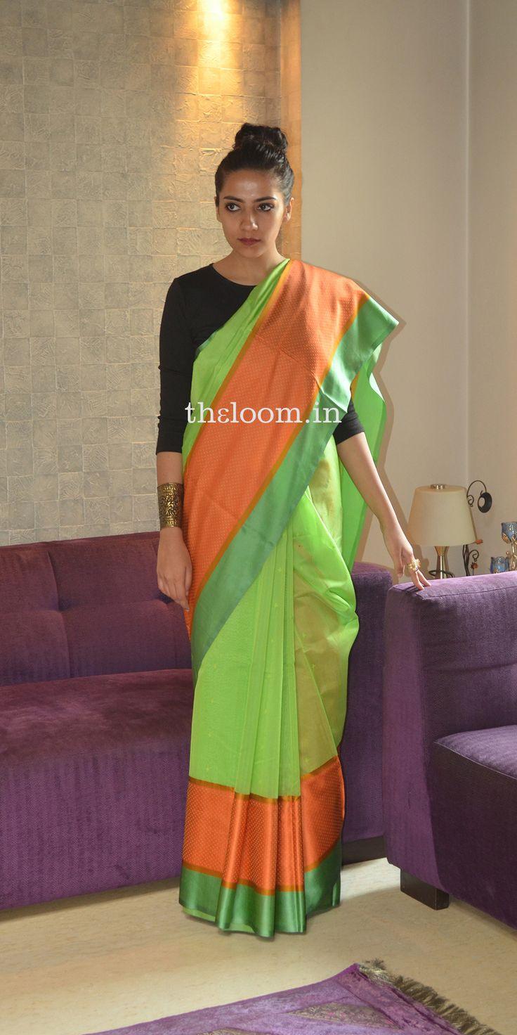 Handwoven Green Kora Cotton Saree