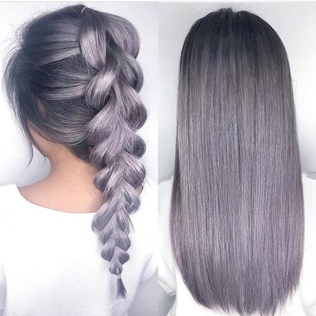 Metallic Lilac Gray hair color and beautiful braid .Granny Hair trend.  Bleaching the hair, then toning grey.  I think this trend is great.  Hope it lasts.