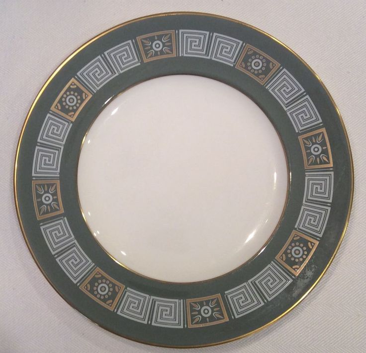 "Set of 5 Wedgwood Green Asia Greek Key Bone China 8 1/8"" Salad Plates R4310 #Wedgwood"
