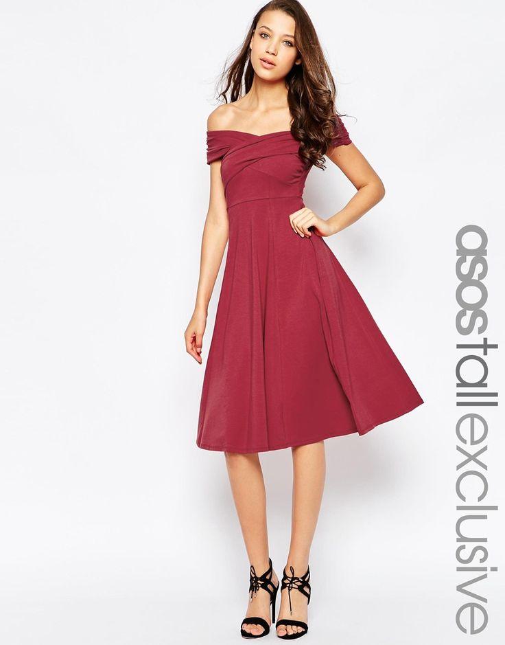 Image 1 ofASOS TALL Skater Dress with Bardot Neckline