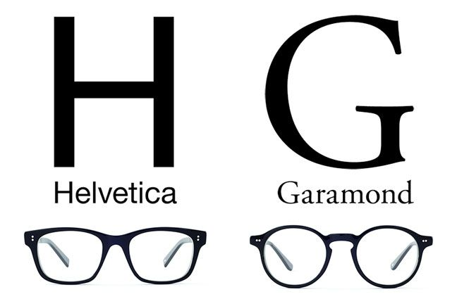 Glasses from Japan inspired by font types - I wonder what Comic Sans frames look like . . .