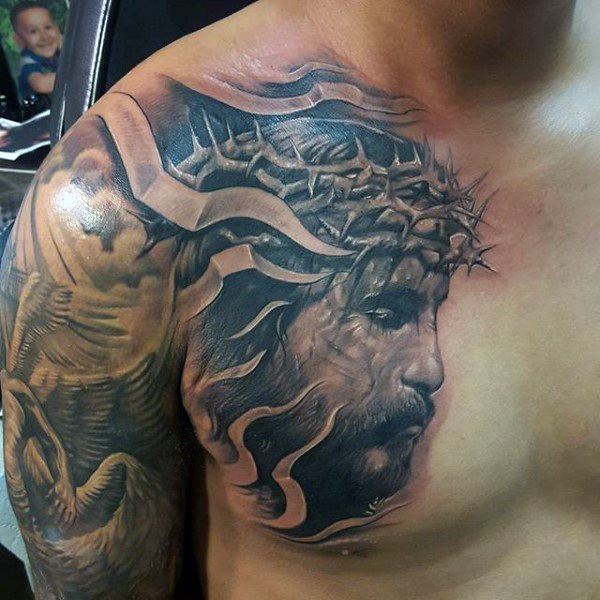 3d Mens Jesus Chest Tattoos | Tatuagens com tema religioso ...