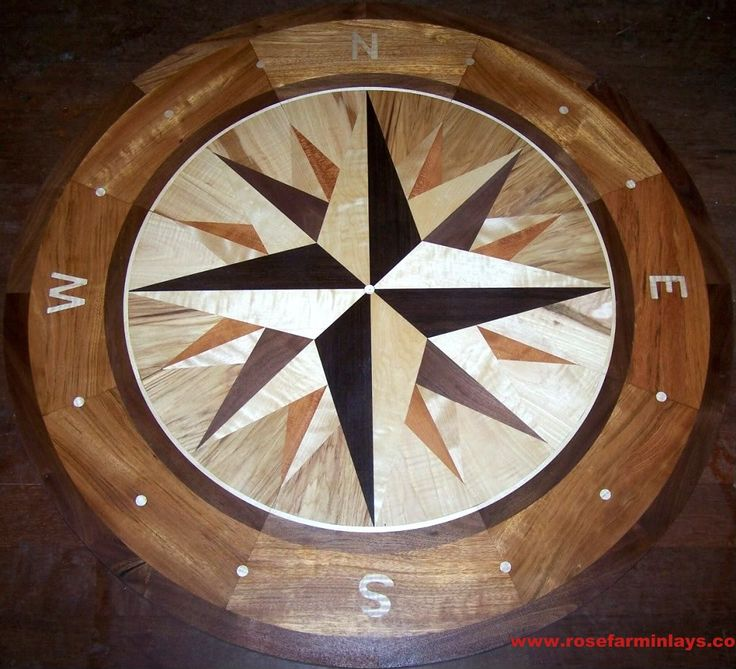 Rosefarminlays compassrose floormedallions wood floor for Wood floor medallion designs