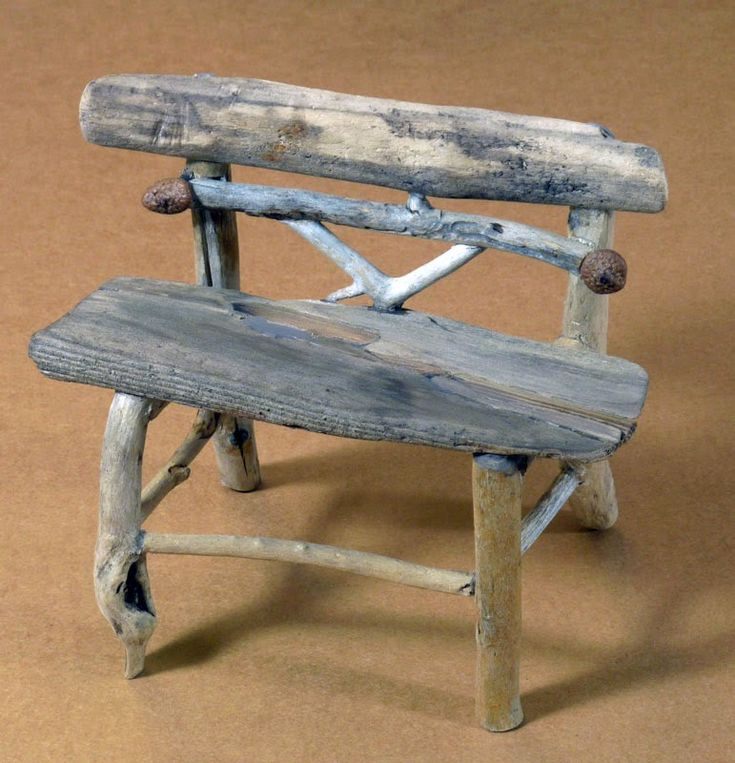 twig furniture | Miniature rustic twig garden bench by George C. Clark (back height ...