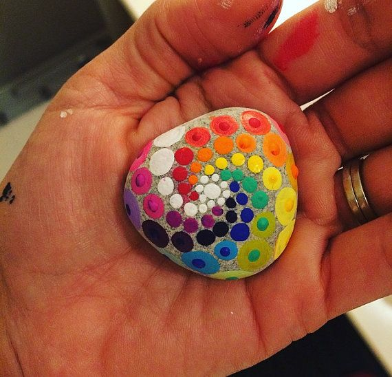 Mini LGBT Gay Pride Mandala Painted Stone