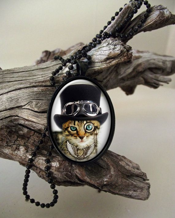 Top hat cat steampunk style glass cab pendant by ArtiFartiGifts