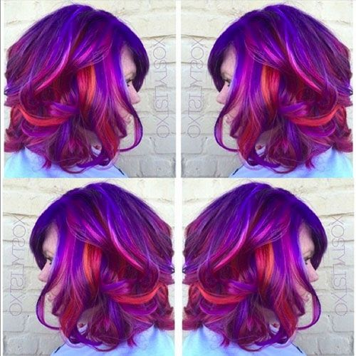 Colorist Ash Fortis (also known as @xostylistxo) recently created this stunning, multidimensional hair color for her client. Vibrant magenta hues complement warm oranges and pops of red for an overall gorgeous effect. Below, Fortis shares how she created this look.Natural/starting level: level 7