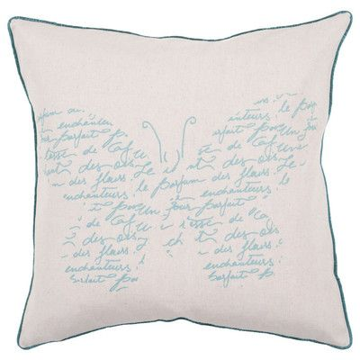 "Surya French Fly Away Synthetic Throw Pillow Size: 22"" H x 22"" W, Filler: Down"