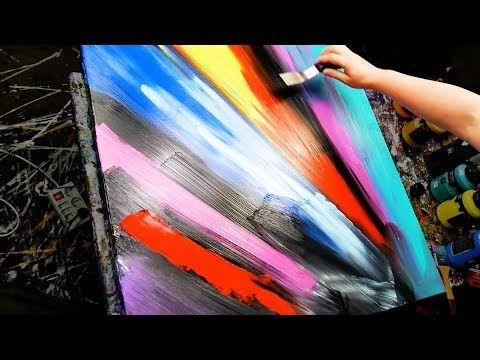 Acryl abstrakte Malerei Demonstration - Messer, Splatter und Paint Splashes - Ion - YouTube