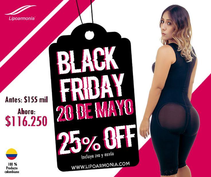 Hoy es Black Friday y para Colombia las ofertas no pueden faltar! SOLO POR HOY 25% de descuento es cinturillas, viene en diferentes estilos, y 25% en algunas referencias de nuestras fajas, ANÍMATE. 25% OFF www.lipoarmonia.com  www.armonyfit.com #Fitness #Deporte #BlackFriday #Ofertas #Salud #Fajas #Cinturillas #FajasColombianas #Colombia