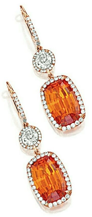Important Size Rectangular Cushion-Cut Mandarin Garnet Drop Earrings With Diamond Accent and Pave Halo Surround  | You can see the Rest of the Outfit and my Comments on this board.  -  Gabrielle
