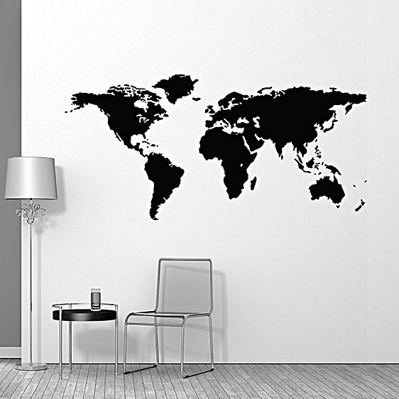 Bring a sense of travel-adventure to your home or office with the World Map Wall Decal from Campfire Graphics, a slick black silhouette to exemplify style in your space.