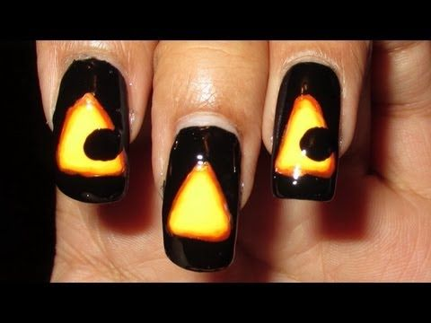 Glowing Jack-O-Lantern Halloween Nail Art