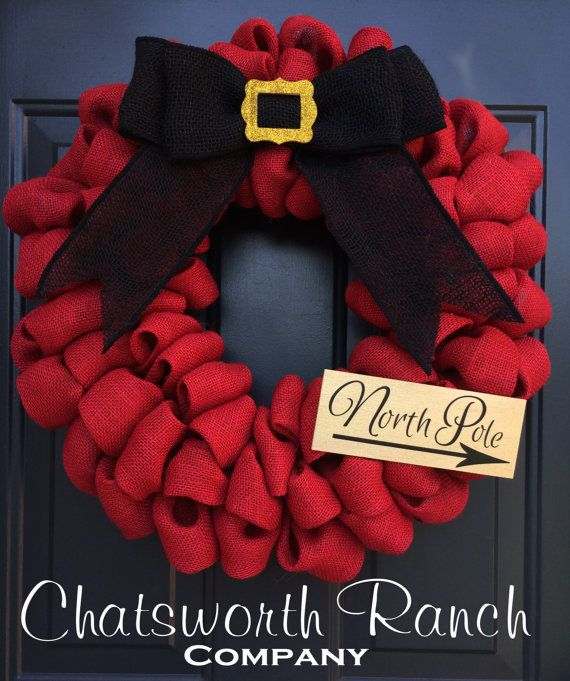 Santa Belt Buckle Burlap Wreath Christmas Holiday Welcome Door Wreath -  Merry…