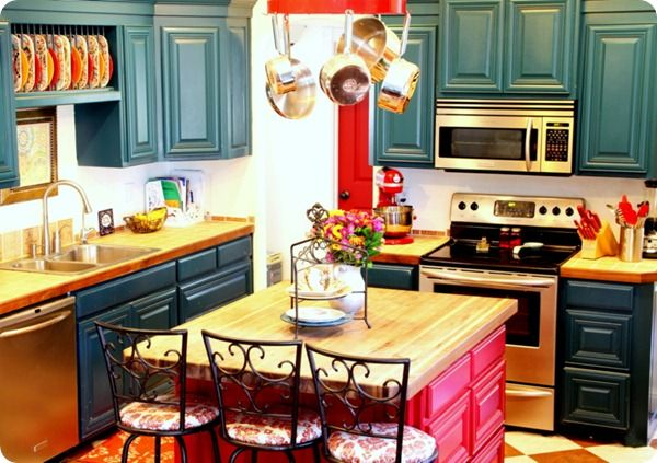 Kitchens, Teal kitchen and Red and teal on Pinterest