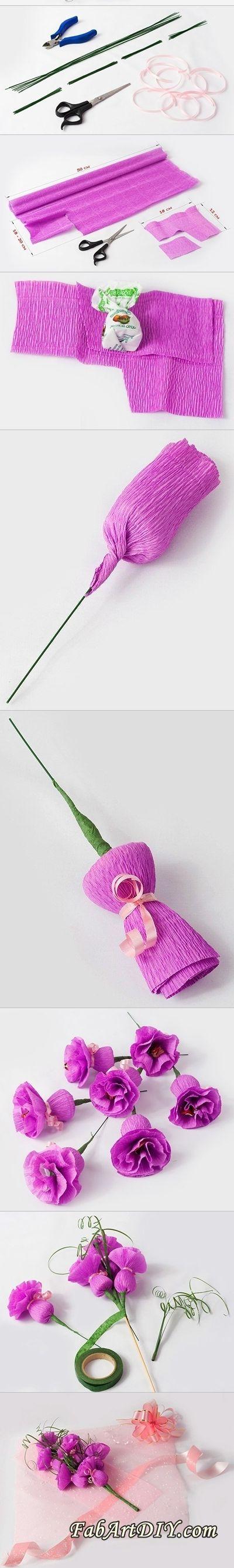 Flores de papel crepé y caramelos