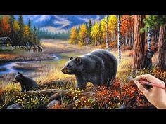 Acrylic Landscape Painting Timelapse - Mountain Cabin - YouTube