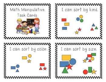 Free: Kinder Math Manipulative Task Cards