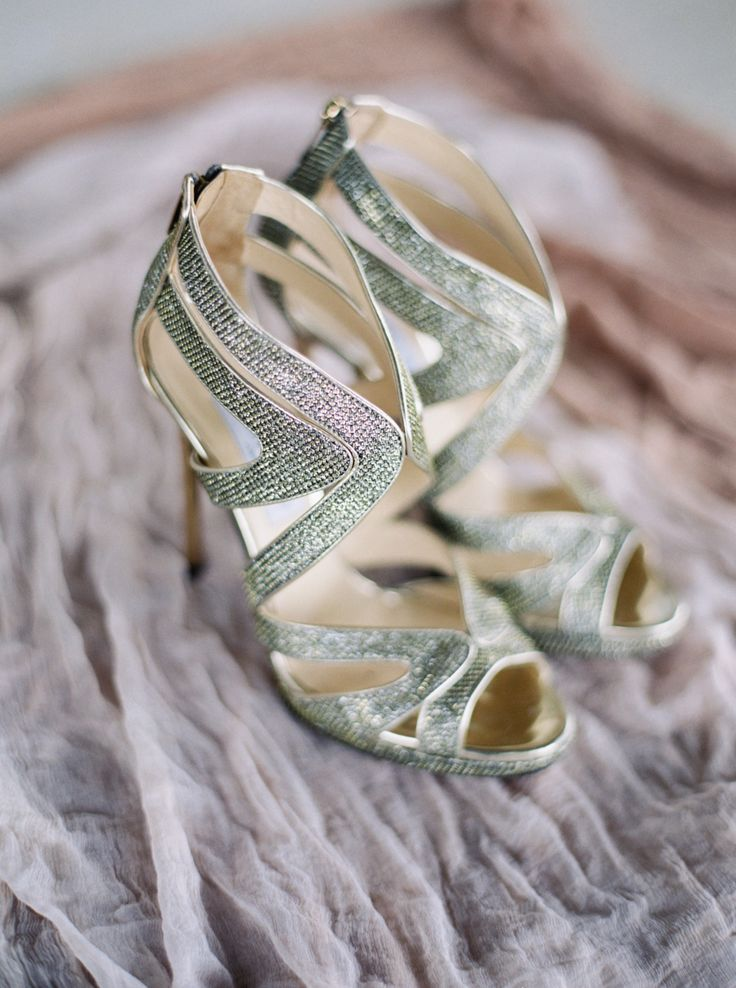 Shimmery metallic shoes: Photography : Jenna McElroy Read More on SMP: http://www.stylemepretty.com/texas-weddings/dripping-springs/2016/03/28/this-wedding-takes-southern-chic-to-an-entirely-new-level/