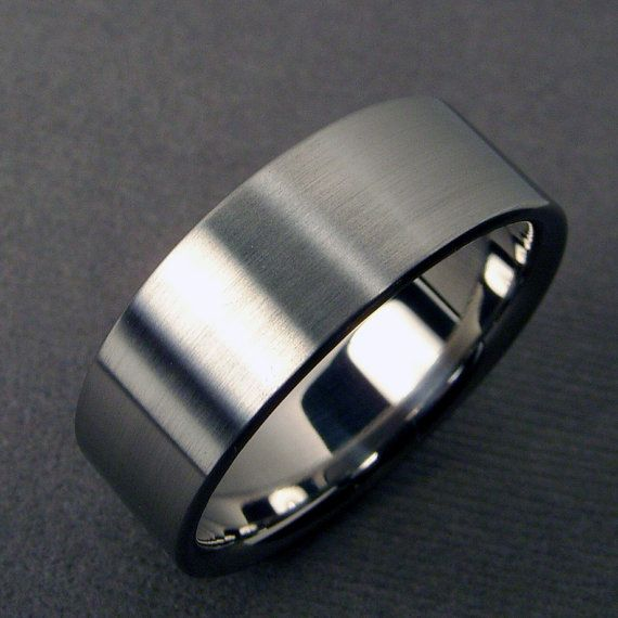 Mens Wedding Band   Titanium Polished And Satin