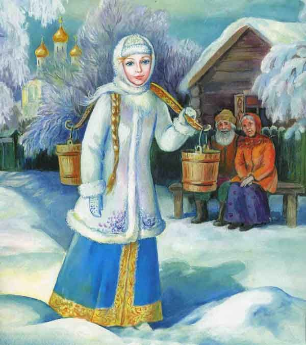 Snegurochka снегурочка for Halloween. Furry white crop top with a short blue skirt and fringe heels? -- Brigid.