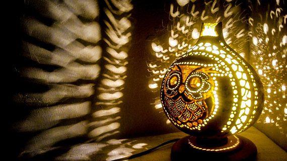 HANDMADE OWL decor Gourd lamps Ottoman Turkish table lamp