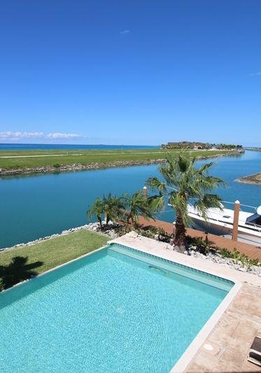 Waterfront swimming pool at Sea Grape Villa, Grand Bahama Island.