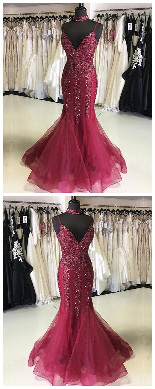 Simple Prom Dresses,New Prom Gown,Vintage Prom Gowns,Burgundy v neck tulle long prom dress, mermaid evening dress P0909 #promdresses #longpromdress #2018promdresses #fashionpromdresses #charmingpromdresses #2018newstyles #fashions #styles #hiprom #prom #burgundy #mermaidprom
