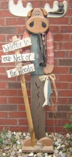 wooden moose yard art - Google Search
