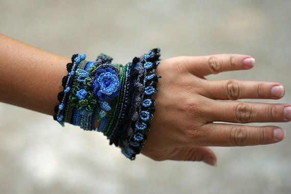 Black  Blue  Green Crochet Cuff with Beaded and by ellisaveta