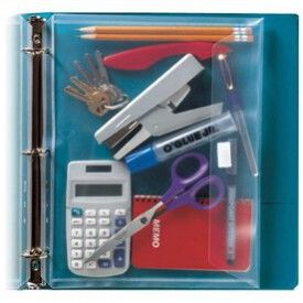 Carry your scissors, calculator, stapler, tape, and more in a plastic binder envelope. Don't let these items slip away, you need them and they need you to keep them safe.