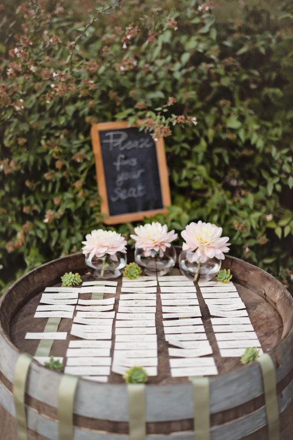 Seating Chart on Wine Barrel | photography by http://rochellecheever.com