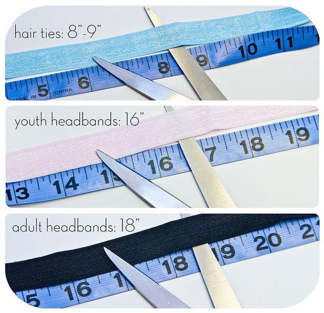 DIY Fold Over Elastic Hair Ties lengths