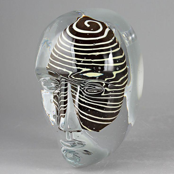 "Bertil Vallien (Brains) Fascinating Large Glass Head ""Look"""