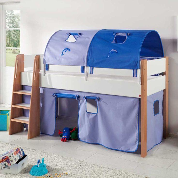 Best Halbhochbett in Blau Wei Vorhang Set Jetzt bestellen unter https moebel ladendirekt de kinderzimmer betten hochbetten uid udfacf c fe