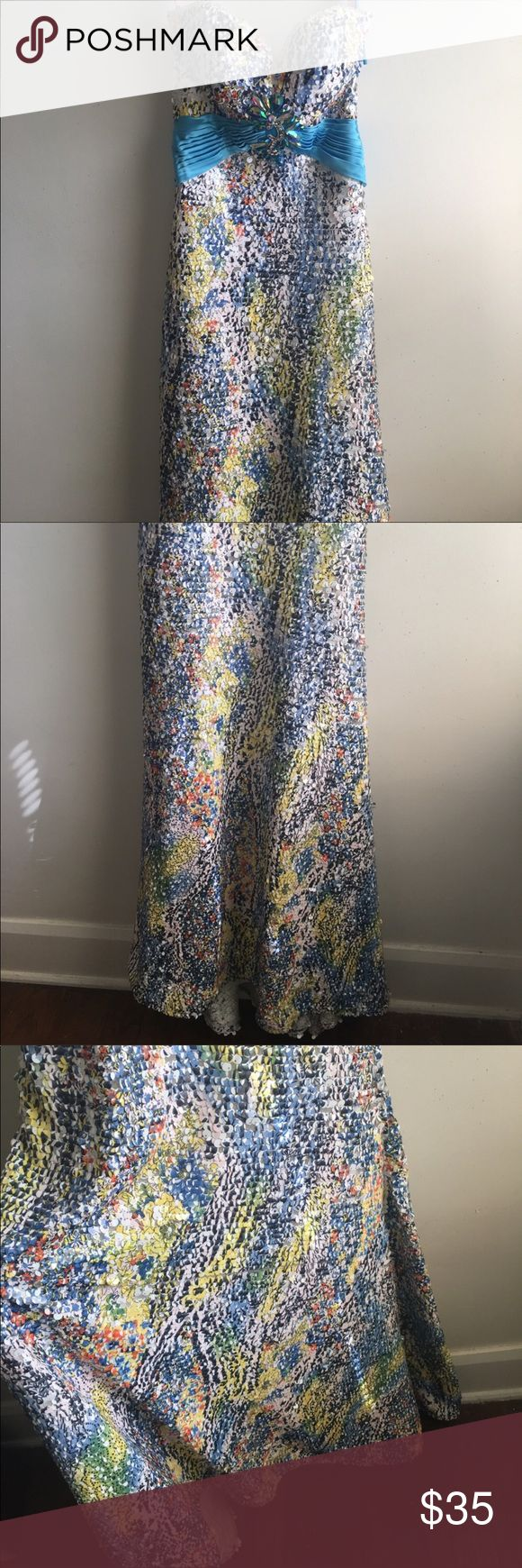 Sequin Rhinestone Animal Print Prom Dress Glitter Brand new  Sequin rhinestone glitter glam  Prom formal dress  Size 00 Fuller at the bottom with slight train  From the Blush Prom collection  Dress retails nearly $500  Has defects  - sequins and rhinestones are loose, some missing  - the thread of the blue waist band has come undone  Could be worn without fixing Strapless  PRICE IS NEGOTIABLE Blush Prom Dresses Prom