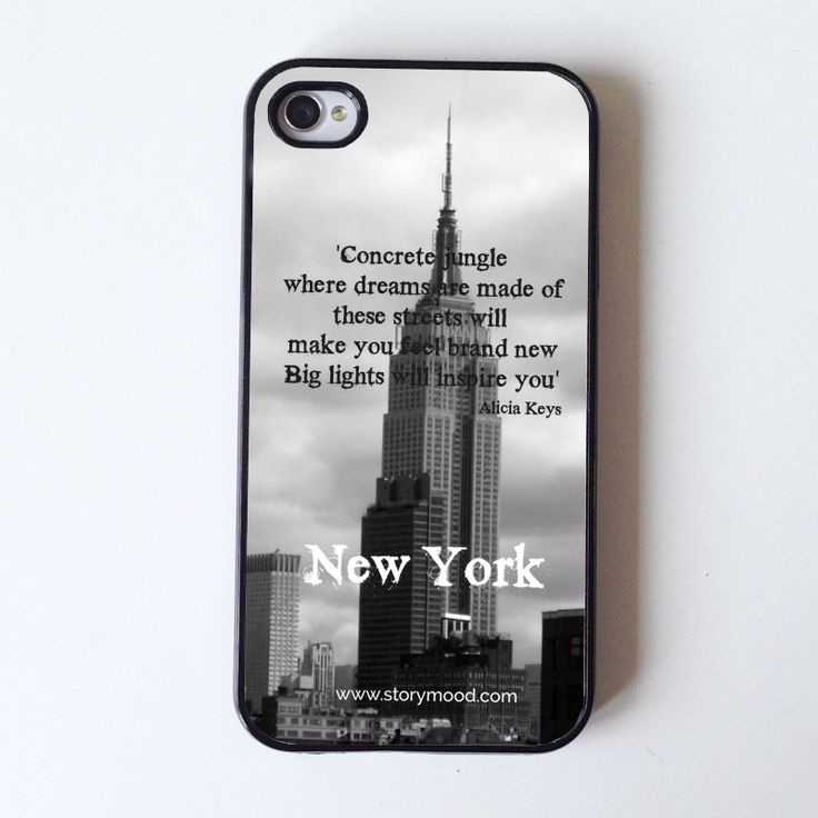 """New York iphone case inspired from Alicia Keys song : Empire state of mind  """"Cocrete jungle  where dreams are made of  these streets will  make you feel brand new  big lights will inspire you""""                Alicia Keys    (photo by Caroline Rovithi : www.carolinerovithi.com)  suitable for iphone 4 and iphone 5 (choose below)  13,00 €"""