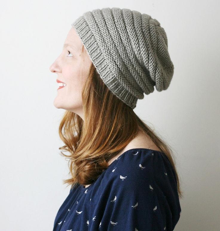 Minique's slouch -- shouchy hat grey merino wool. $30.00, via Etsy.