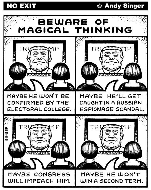 Andy Singer - Politicalcartoons.com - Magical Thinking About Trump - English - president,President,donald,Donald,trump,Trump,administration,POTUS,liberal,liberals,Russia,russia,Russian,russian,election,elections,voting,voters,hack,hacks,hacking,hackers,interference,espionage,scandal,scandals,impeach,impeaches,impeachment,electoral