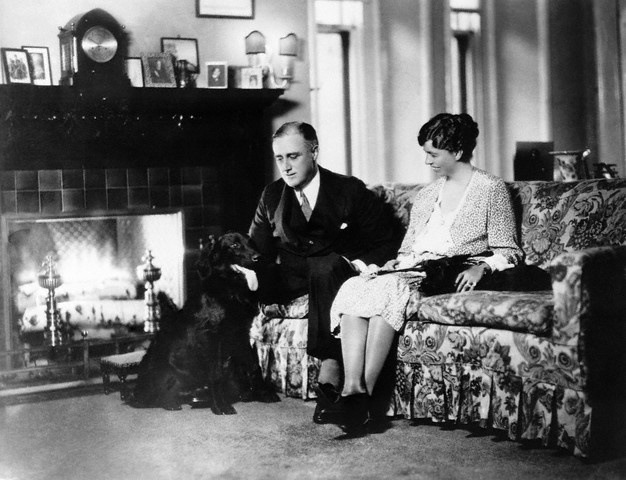 A photo of the Roosevelts at their home in Albany, New York.  Franklin went on to become the 32nd president of the United States from 1933 to 1945.  This was before term limits began.  Franklin served four terms as president and passed away during the fourth term.