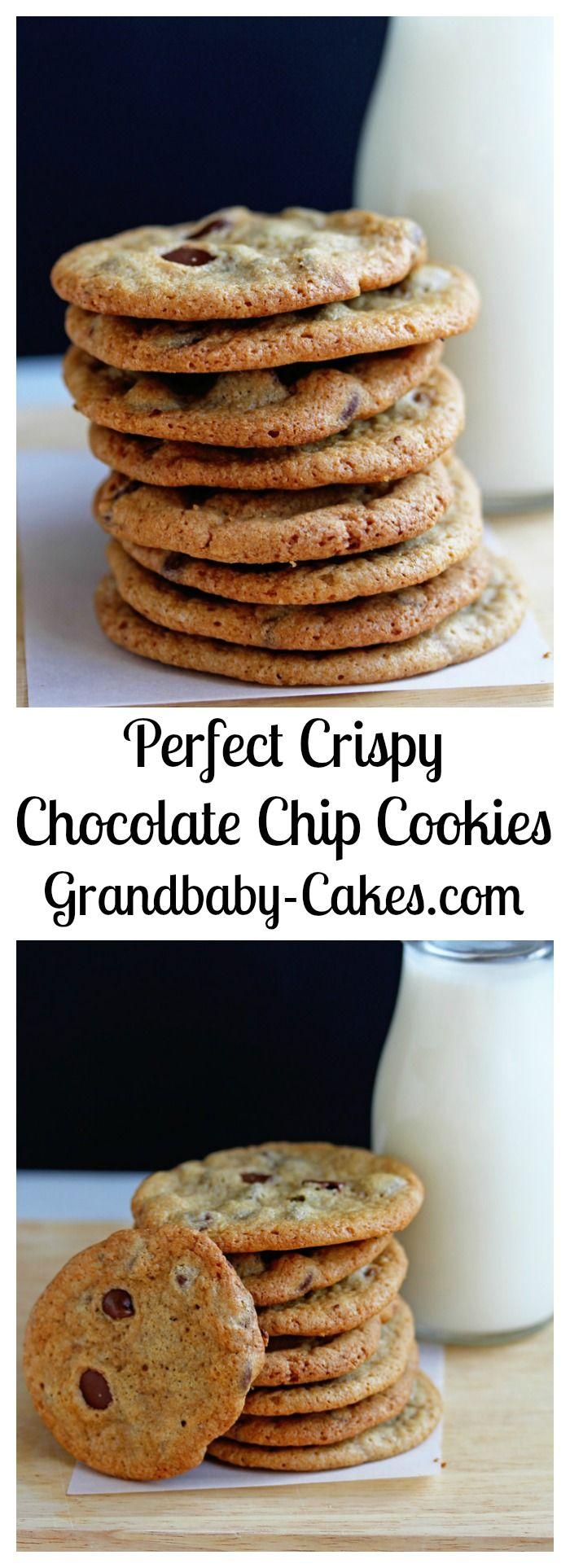 Perfect Crispy Chocolate Chip Cookies | Grandbaby-Cakes.com