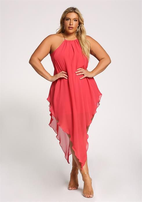 Plus Size Chain Strap Chiffon Pointed Midi Dress | Casual Wear in ...
